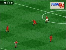 In game image of FIFA 98: Road to World Cup on the Nintendo SNES.