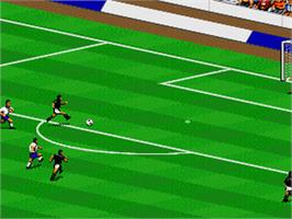 In game image of FIFA International Soccer on the Nintendo SNES.