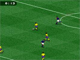 In game image of FIFA Soccer '96 on the Nintendo SNES.