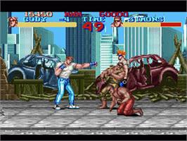 In game image of Final Fight on the Nintendo SNES.
