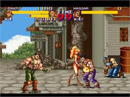 In game image of Final Fight 2 on the Nintendo SNES.
