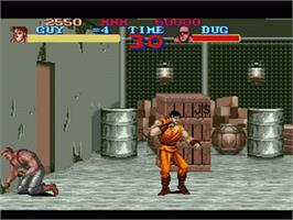 In game image of Final Fight Guy on the Nintendo SNES.