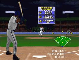 In game image of Frank Thomas: Big Hurt Baseball on the Nintendo SNES.