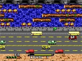 In game image of Frogger on the Nintendo SNES.