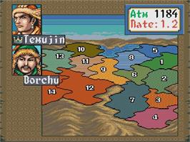 In game image of Genghis Khan II: Clan of the Grey Wolf on the Nintendo SNES.