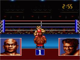 In game image of George Foreman's KO Boxing on the Nintendo SNES.