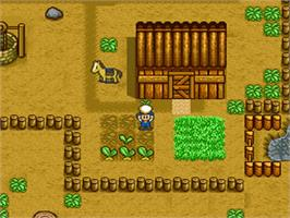 In game image of Harvest Moon on the Nintendo SNES.