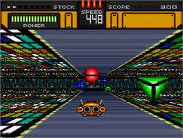 In game image of HyperZone on the Nintendo SNES.