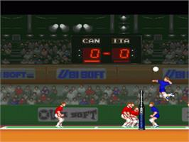 In game image of Hyper V-Ball on the Nintendo SNES.