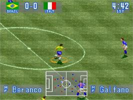 In game image of International Superstar Soccer on the Nintendo SNES.