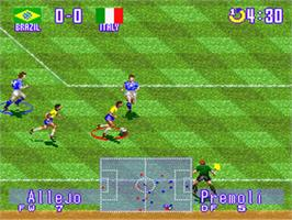In game image of International Superstar Soccer Deluxe on the Nintendo SNES.