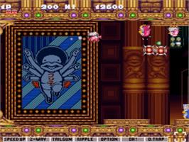 In game image of Jikkyou Oshaberi Parodius on the Nintendo SNES.
