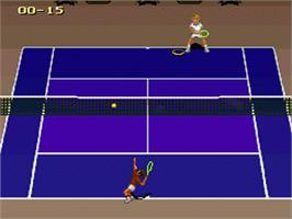 In game image of Jimmy Connors Pro Tennis Tour on the Nintendo SNES.