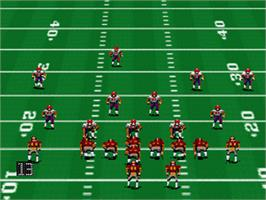 In game image of John Madden Football '93 on the Nintendo SNES.