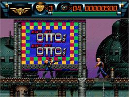 In game image of Judge Dredd on the Nintendo SNES.