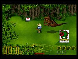In game image of Jurassic Park on the Nintendo SNES.