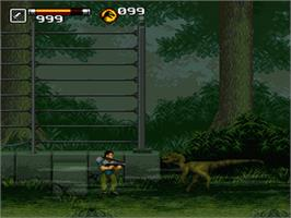 In game image of Jurassic Park Part 2: The Chaos Continues on the Nintendo SNES.
