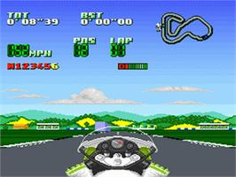 In game image of Kawasaki Superbike Challenge on the Nintendo SNES.