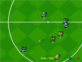 In game image of Kick Off on the Nintendo SNES.