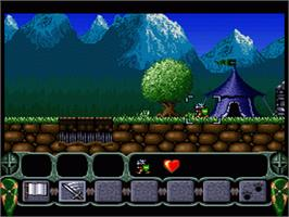 In game image of King Arthur's World on the Nintendo SNES.