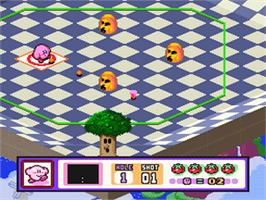 In game image of Kirby's Dream Course on the Nintendo SNES.
