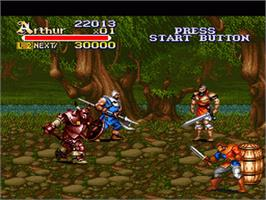 In game image of Knights of the Round on the Nintendo SNES.