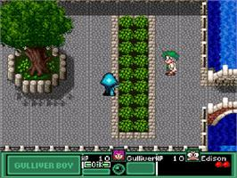 In game image of Kuusou Kagaku Sekai Gulliver Boy on the Nintendo SNES.
