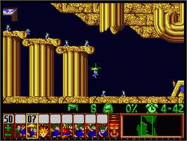 In game image of Lemmings on the Nintendo SNES.