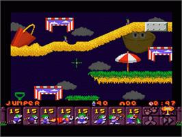 In game image of Lemmings 2: The Tribes on the Nintendo SNES.