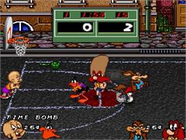 In game image of Looney Tunes B-Ball on the Nintendo SNES.