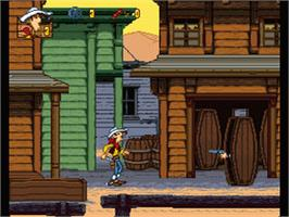 In game image of Lucky Luke on the Nintendo SNES.