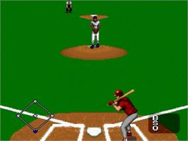 In game image of MLBPA Baseball on the Nintendo SNES.