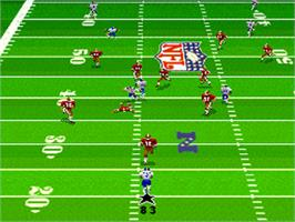 In game image of Madden NFL '96 on the Nintendo SNES.