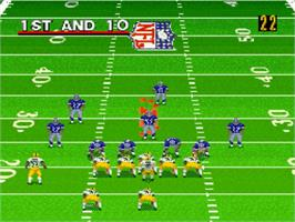 In game image of Madden NFL '98 on the Nintendo SNES.