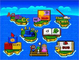 In game image of Mario's Early Years: Fun With Letters on the Nintendo SNES.