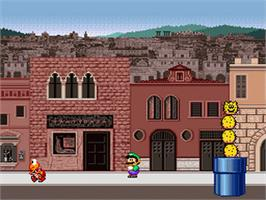 In game image of Mario is Missing! on the Nintendo SNES.