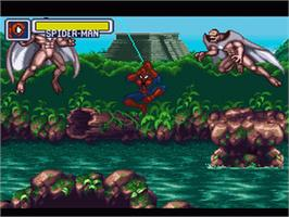In game image of Marvel Super Heroes in War of the Gems on the Nintendo SNES.