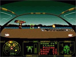 In game image of MechWarrior on the Nintendo SNES.
