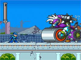 In game image of Mega Man 7 on the Nintendo SNES.