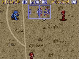 In game image of Mega Man Soccer on the Nintendo SNES.
