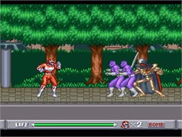 In game image of Mighty Morphin Power Rangers on the Nintendo SNES.