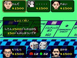 In game image of Monopoly on the Nintendo SNES.