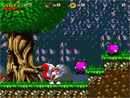 In game image of Mr. Nutz on the Nintendo SNES.