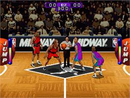 In game image of NBA Hang Time on the Nintendo SNES.