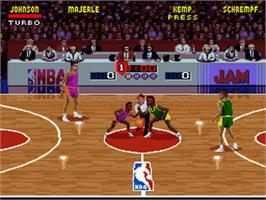 In game image of NBA Jam on the Nintendo SNES.