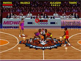In game image of NBA Jam Tournament Edition on the Nintendo SNES.