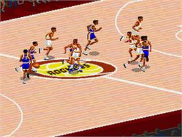 In game image of NBA Live '95 on the Nintendo SNES.