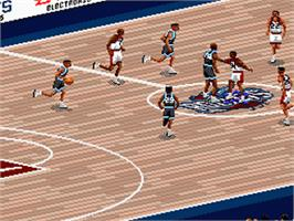 In game image of NBA Live '96 on the Nintendo SNES.