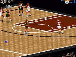 In game image of NBA Live '97 on the Nintendo SNES.