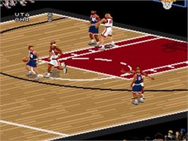In game image of NBA Live '98 on the Nintendo SNES.